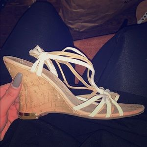 White strapping wedges
